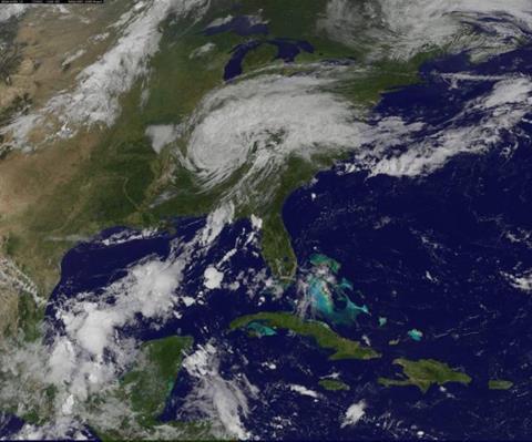 2017's Hurricane Harvey subsides into a tropical storm over the U.S. Gulf Coast. (Image: NASA/NOAA GOES Project)