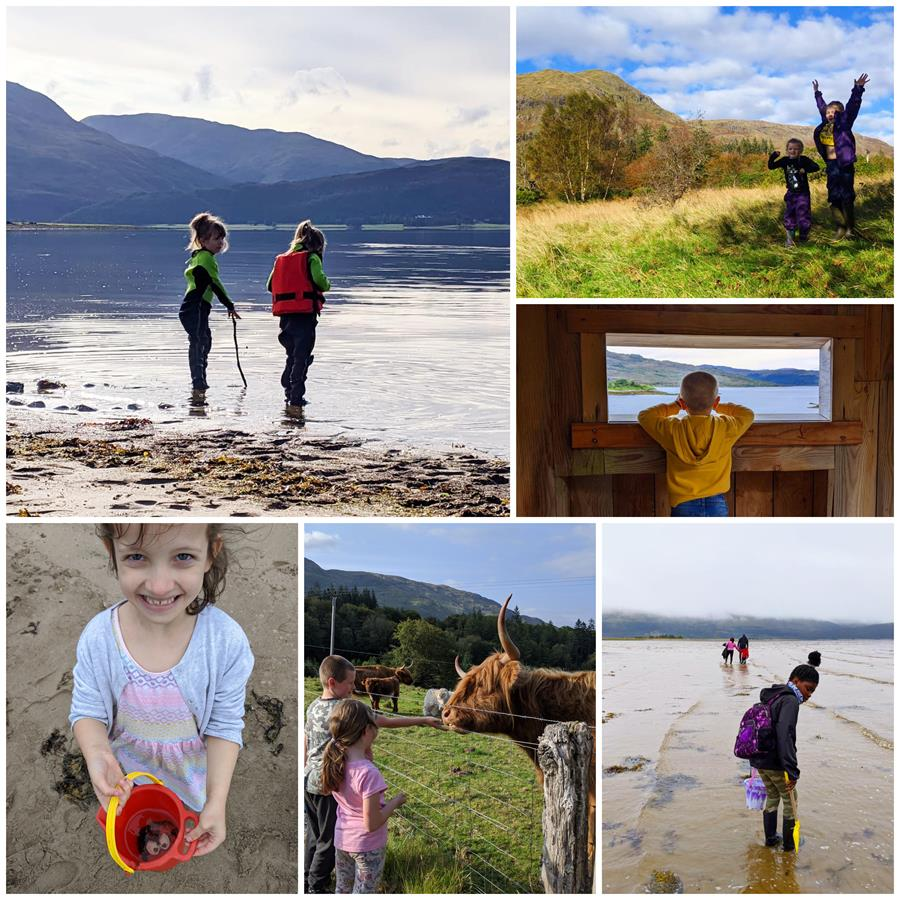 collage of photos of families enjoying the outdoors on their respite breaks