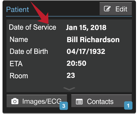 Patient Card with Date of Service