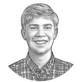 Stipple drawing of Andrew Duehren.