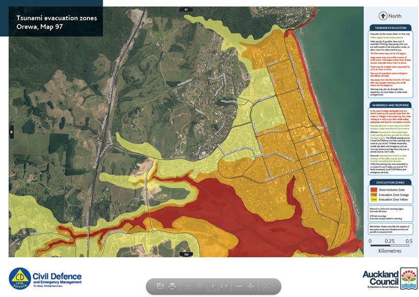 Tsunami evacuation zone map