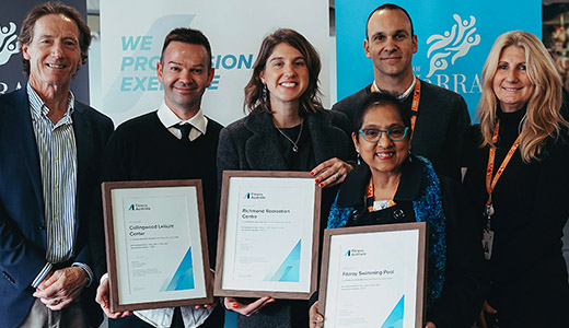 Fitness Australia awarding our Mayor, CEO, and Yarra Leisure health and fitness staff the 3 awards