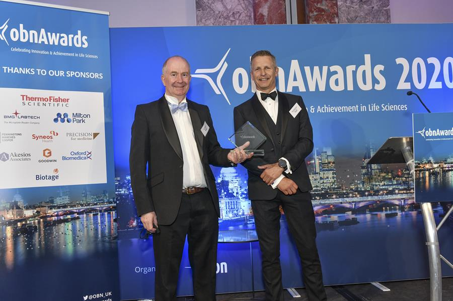 CEO Tom Mander collects the Best CRO award at the OBN Awards