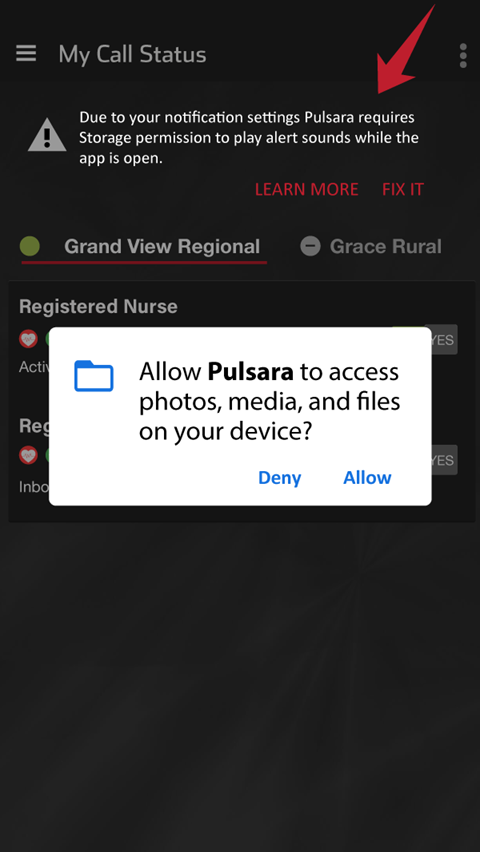 Android notification settings in Pulsara