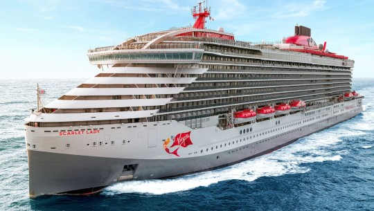 Virgin Voyages ship The Scarlet Lady is pictured at sea.