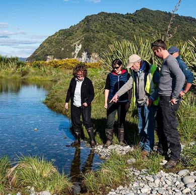 West Coast Tai Poutini conservation board members and DOC staff on Cobden Island.