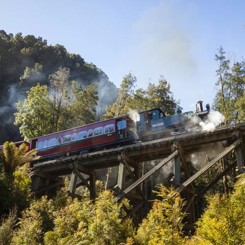 The West Coast Wilderness Railway climbs using the Abt Rack and Pinion system. Photo by Nick Osborne, West Coast Wilderness Railway