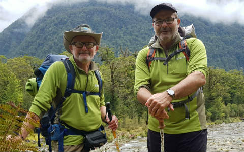 Greg Lind and Lou Sanson, Milford Track, December 2018.