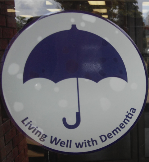Look for the Blue Umbrella sticker on the front doors of every library location. This symbol denotes that all library locations are dementia-friendly.