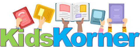 This image has the words, Kids Korner, with hands reaching out of the words. Each hand holds a different type of book or device or magazine.