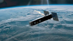 An artist's rendering of a Biarri satellite containing components built by DST Group and UNSW.  Defence
