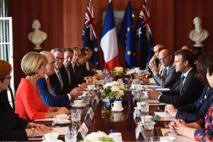 A meeting between Australian and French ministers in Sydney. Credit: Chris Pyne via Twitter