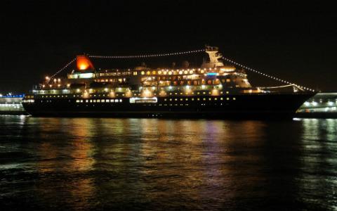 Cruise ship at night.