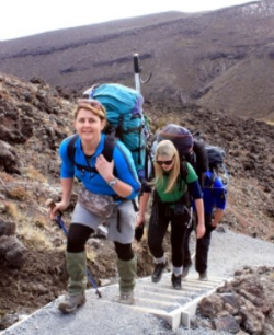 Trampers ascend the Tongariro Crossing