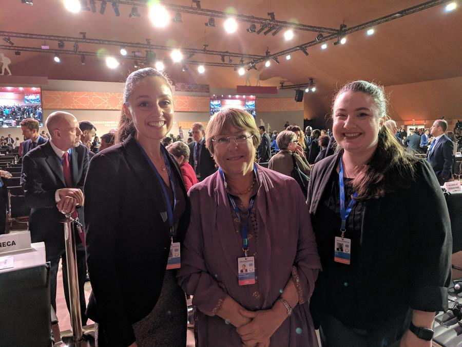 Kati Garrison with Cecilie Kern and the United Nations High Commissioner for Human Rights, Michelle Bachelet, at the Intergovernmental Conference to Adopt the GCM