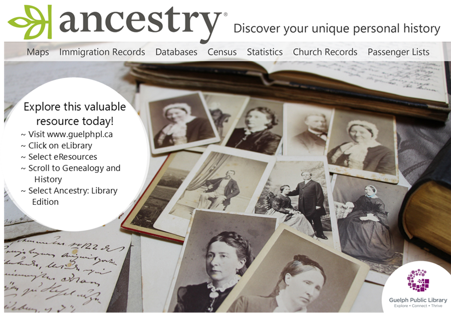 With your library card, explore your unique personal history with the library's online eResource - Ancestry: Library Edition.