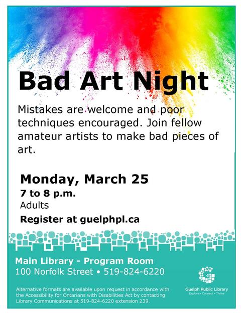 Register for the Main Library's Bad Art Night on Monday, March 25 from 7 to 8 p.m. Adults