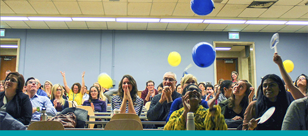Health Quality Ontario staff celebrate Change Day with balloons