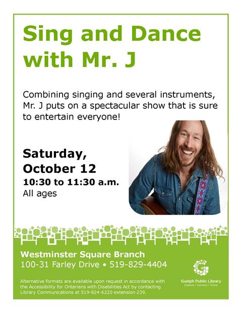 Combining singing and several instruments, Mr. J puts on a spectacular show that is sure to entertain everyone!