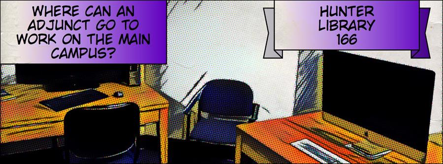 Where can an adjunct go to work on the main campus?  Hunter Library 166