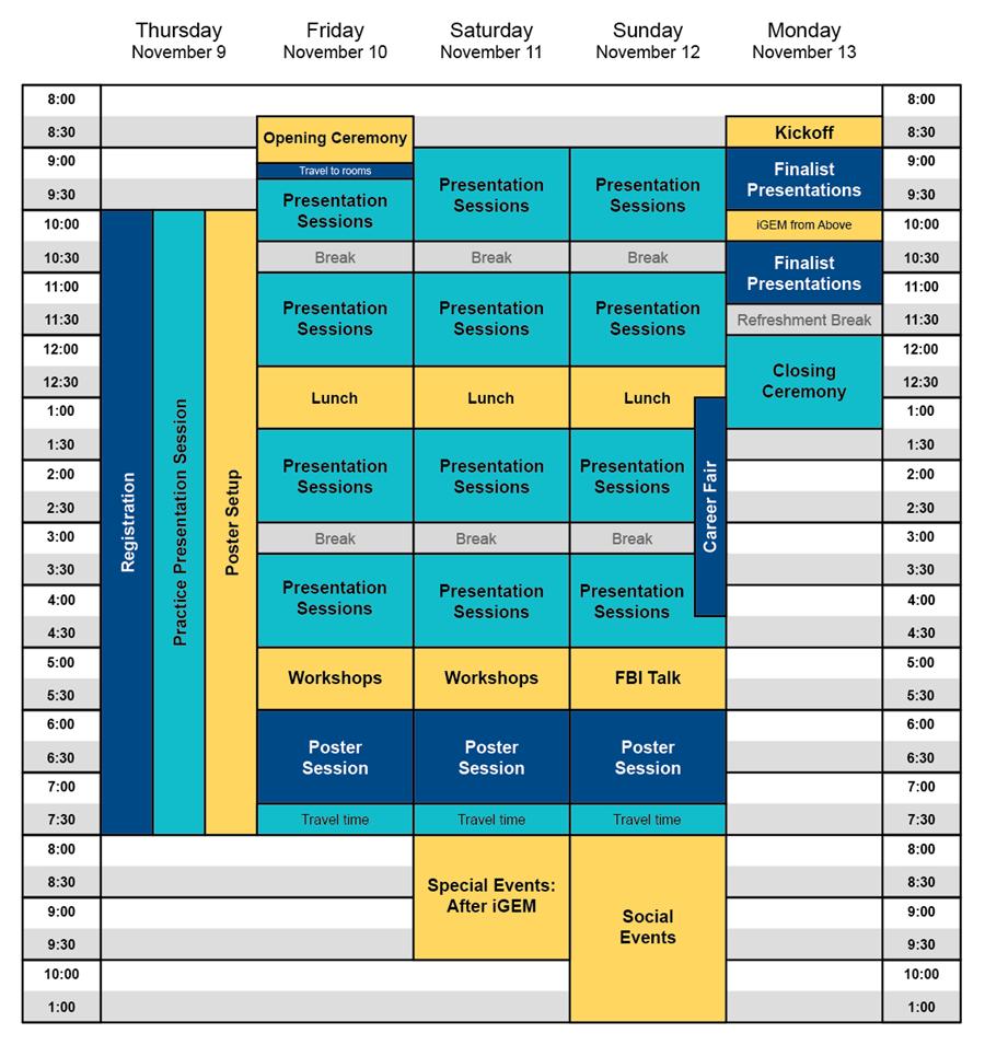 Schedule Overview of iGEM 2017 Giant Jamboree