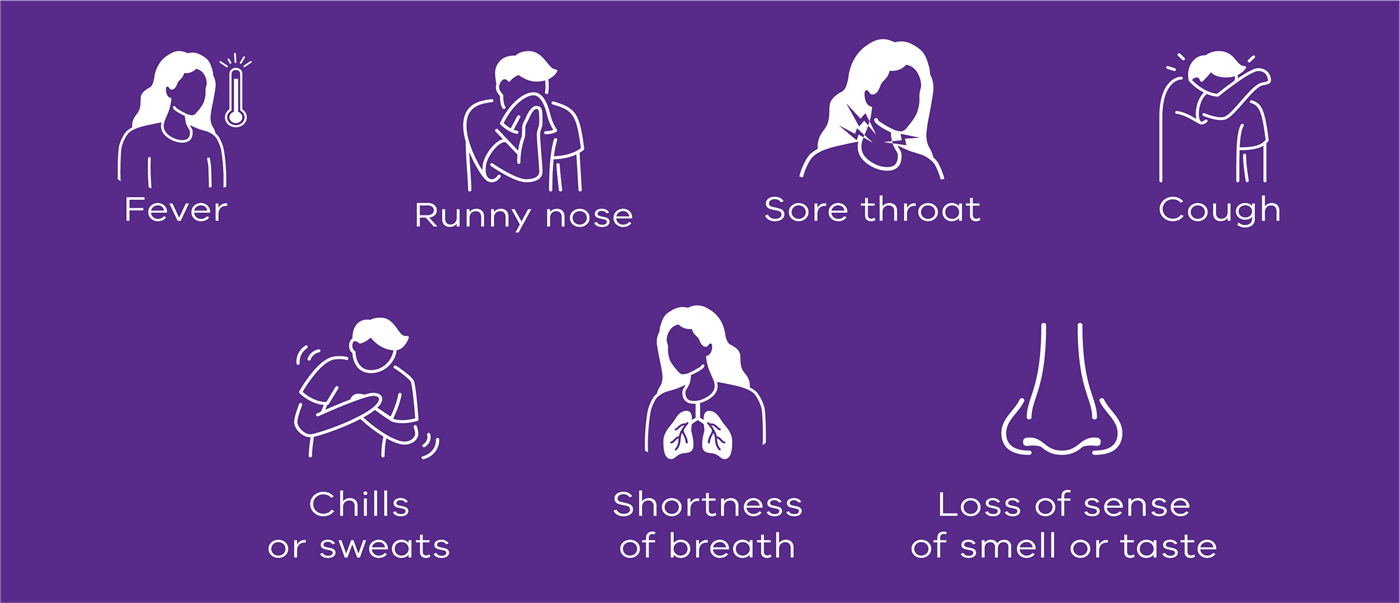 Symptoms of COVID-19: Fever, runny nose, sore throat, cough, chills or sweats, shortness of breath, loss of sense of smell or taste.