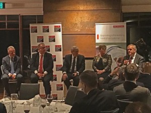 The panel discussing Parliamentary inquiry into bipartisan defence cooperation. (L-R) Dr Brendan Nelson, David Feeney, Sir Roger Carr, Linda Reynolds and Kim Beazley.