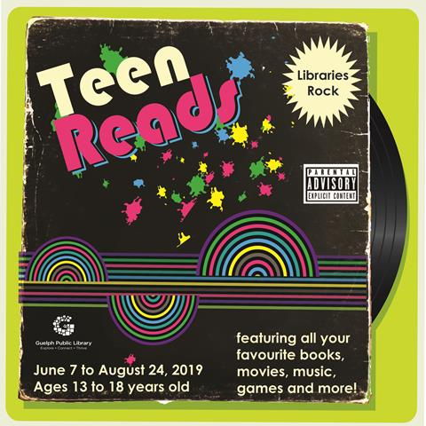 Participate in our Teen Reads Summer Challenge until Saturday August 24, 2019. Check out www.guelphpl.ca for more teen program details.