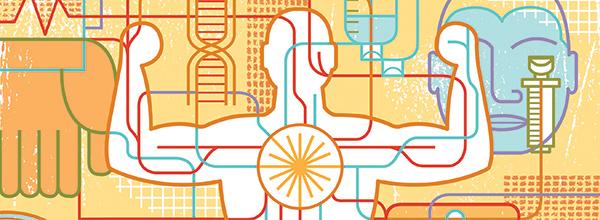Schémas illustrant les symboles de la santé et le corps humain