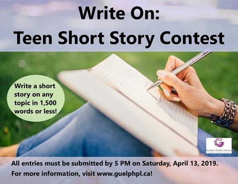 This is the poster for Write On: Teen short story contest. There are multiple dates scheduled in February for teens to come into the Main Library and write.