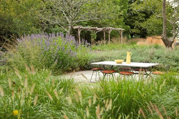 A seating area in a garden in the Hamptons