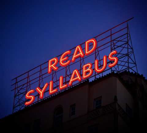 """A sign that says """"Read Syllabus"""""""