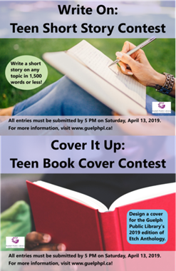 These are promotional ads for our Teen Write On Short Story Contest and the Cover It Up Teen Book Cover Contest. There are two photographs of people holding books. One girl is writing in a book and in the other photo, a male is holding a book that on the front cover is encouraging teens to submit their cover designs.
