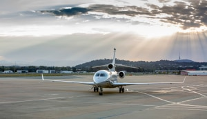 The new Dassault Falcon 7X aircraft at Defence Establishment Fairbairn, Canberra.