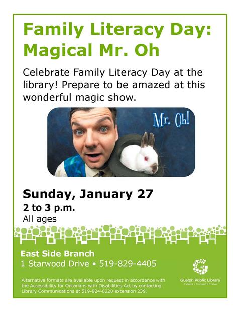 This is the poster for Magical Mr. Oh's magic show. It is being held at the East Side library on Sunday, January 27th from 2 to 3 p.m.