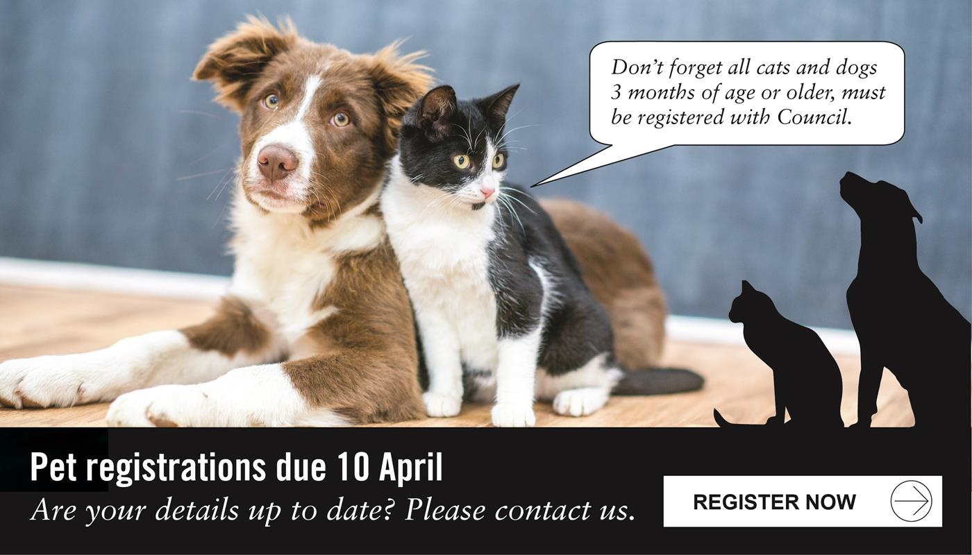 Don't forget all cats and dogs 3 months of age or older, must be registered with Council. Pet registrations due 10 April.