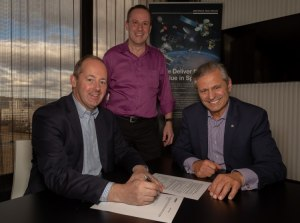 Nicolas Chamussy, Head of Space Systems, Airbus, Peter Nikoloff, Executive Director, co-founder and Senior Weapons System Engineer, Nova Group and Professor Andy Koronios, Dean Industry and Enterprise, UniSA announce the CRC commitment. Credit: Airbus