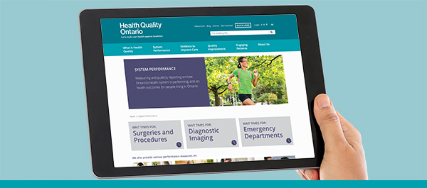 Screenshot of Health Quality Ontario's online wait times reporting webpage