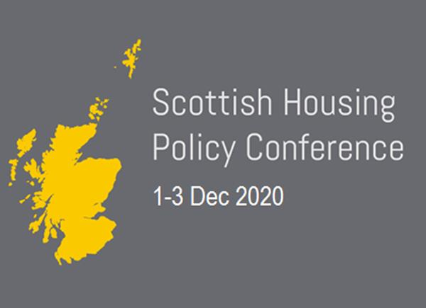 """A flat yellow map of Scotland next to the words """"Scottish Housing Policy Conference 1-3 December 2020"""" on a grey background"""