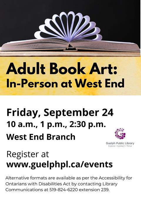 Library advertisement for the In-Person Adult Book Art event at West End Branch on Friday, September 24. Registration is required.