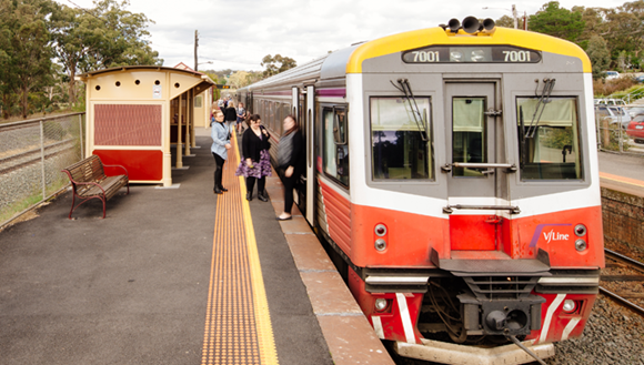 Train at station.