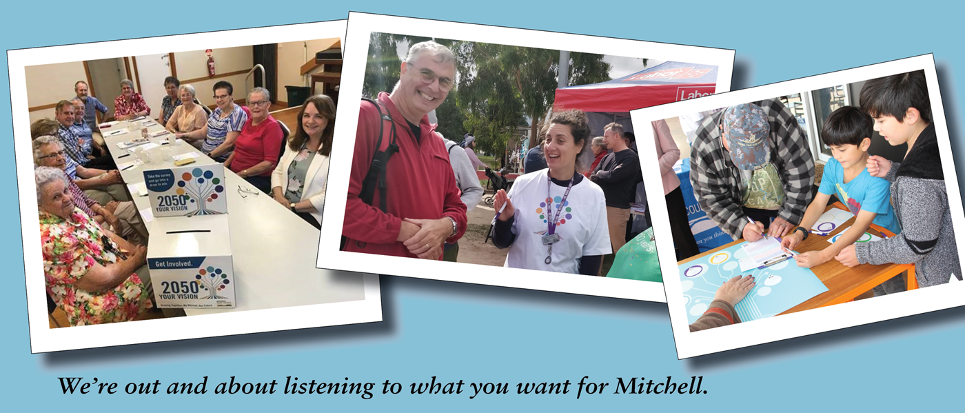 Three images of people out our Mitchell 2050 pop ups