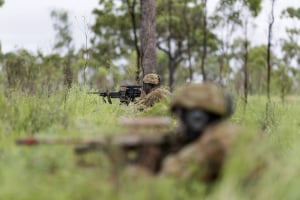 Australian Army officer trainees conduct a patrol during the Royal Military College training activity near Townsville, Queensland. Defence