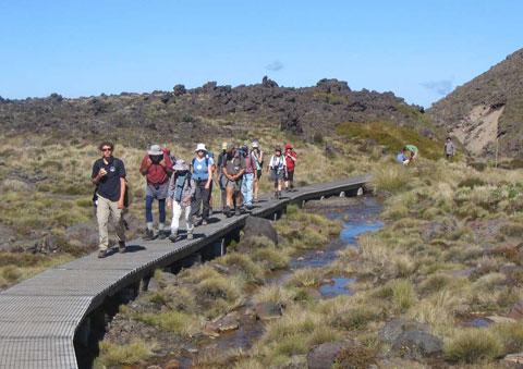 People on the Tongariro Crossing.