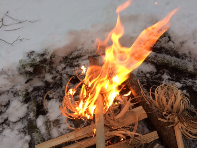 Flaming feathersticks in the snow