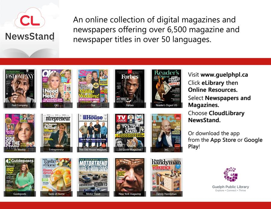 Library advertisement for online resource, Cloud Library NewsStand, available free with your library card.