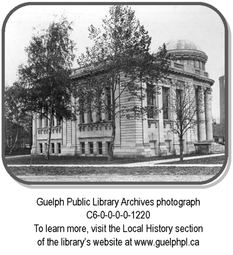 This is a postcard image of the Guelph Public Library Carnegie Library - shown from the back of it. This item is in our Archives collection.