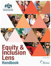 Image of the cover of the Equity and Inclusion Lens Handbook, featuring faces of diverse people