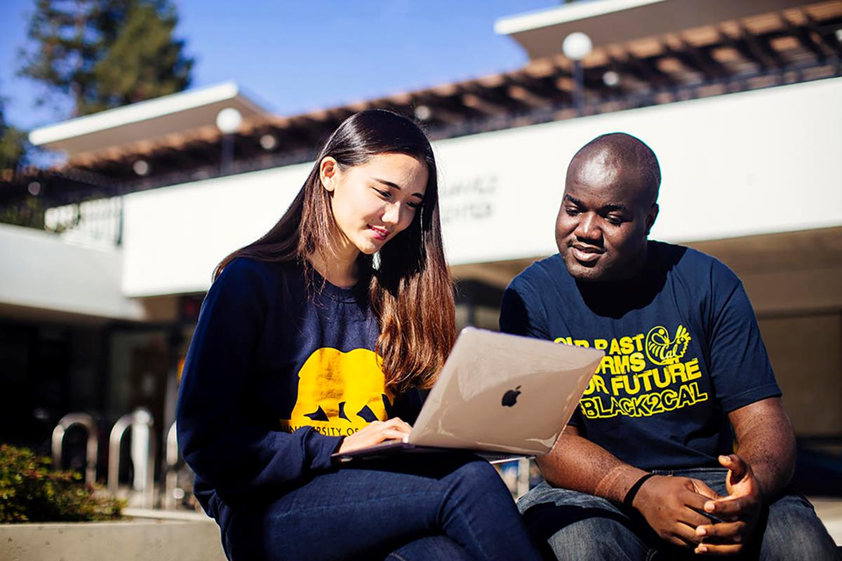 Photo of two students at Cal