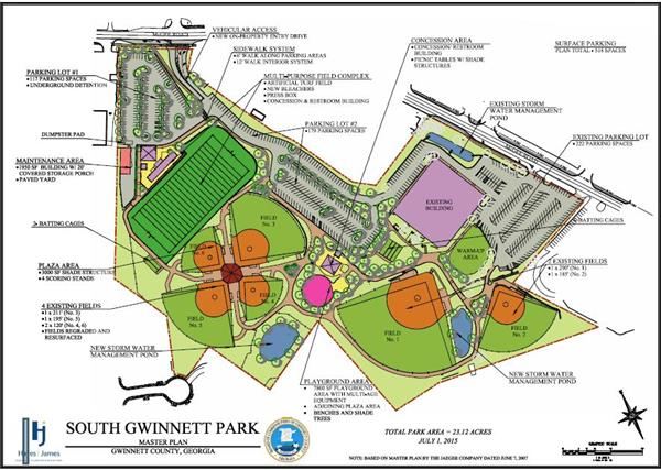 map of South Gwinnett Park